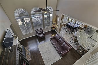 High angle view of house interior