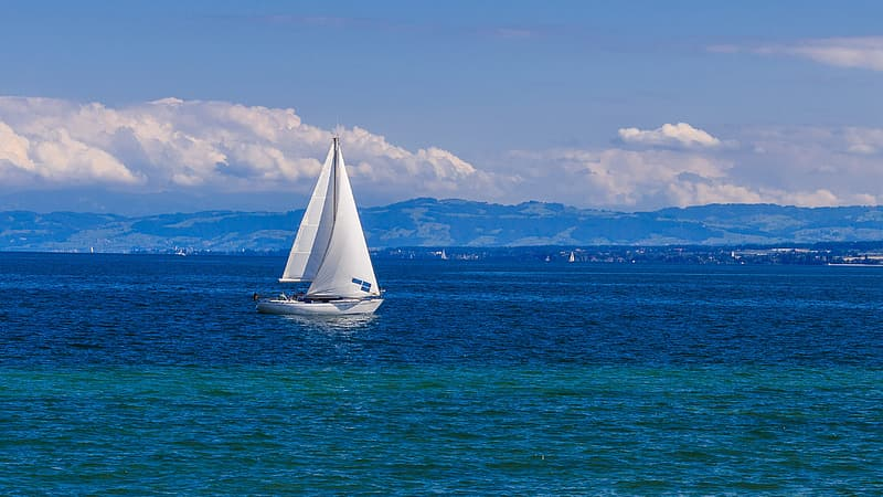 Sail boat in the middle of the sea