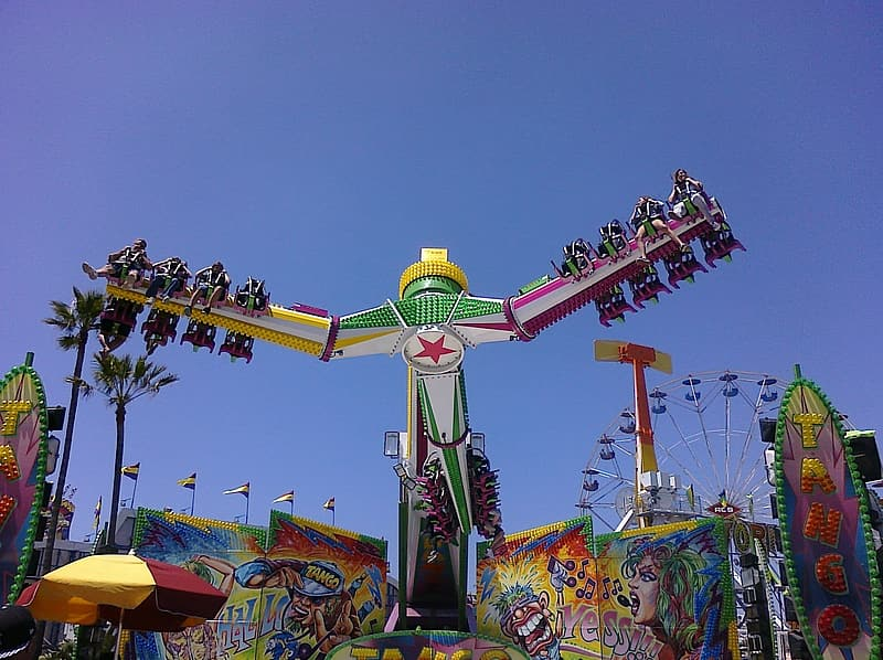 Green and yellow amusement park ride