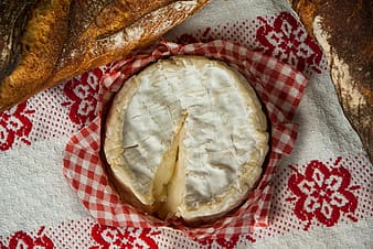 Baked pastry on red and white gingham textile