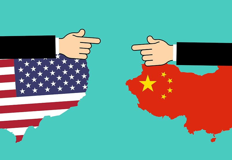 United States and China engaged in a trade war. Illustration concept.