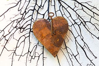 Brown metal heart accessory