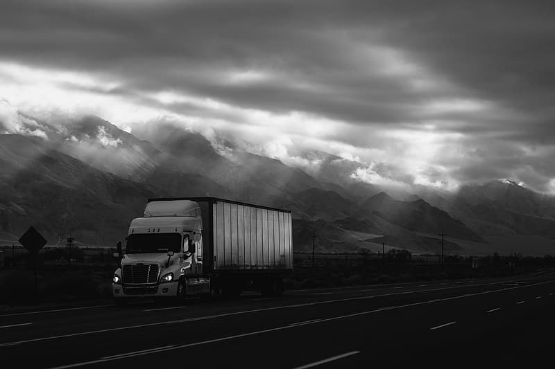 Grayscale photo of freight with trailer during daytime