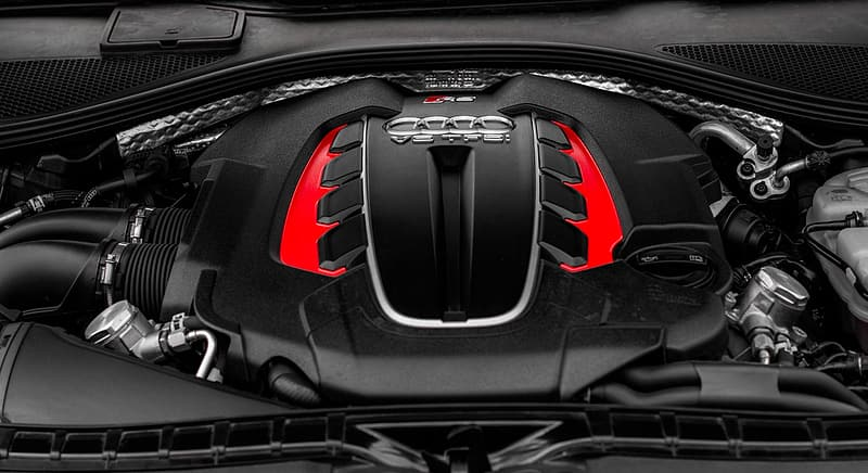 Black and red Audi vehicle engine