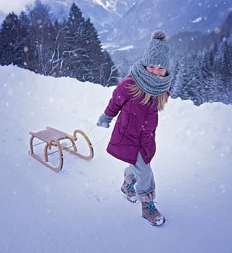 Beige wooden snow sled