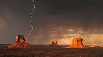 Landscape photo of a mountain with thunder
