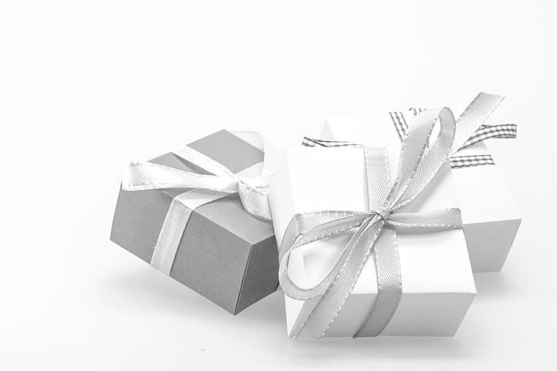 Two white and one gray gift boxes