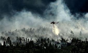 Helicopter spraying on green forest