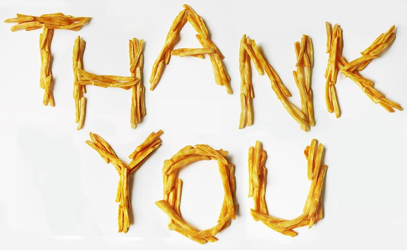 Thank You text with white background