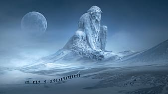 Giant frozen man statue artwork, silhouette of group of people in line under full moon with bearded man mountain statue background