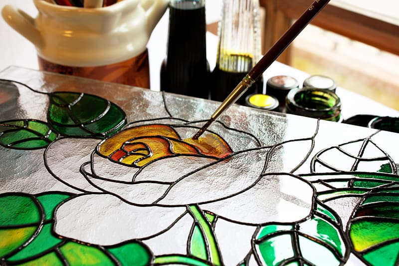 Silver and green flower painting