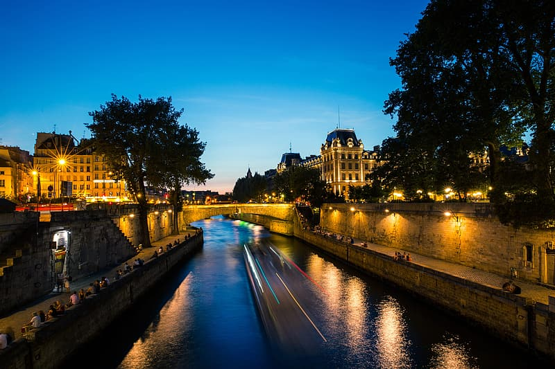 Sunset over the River Seine in Paris, France