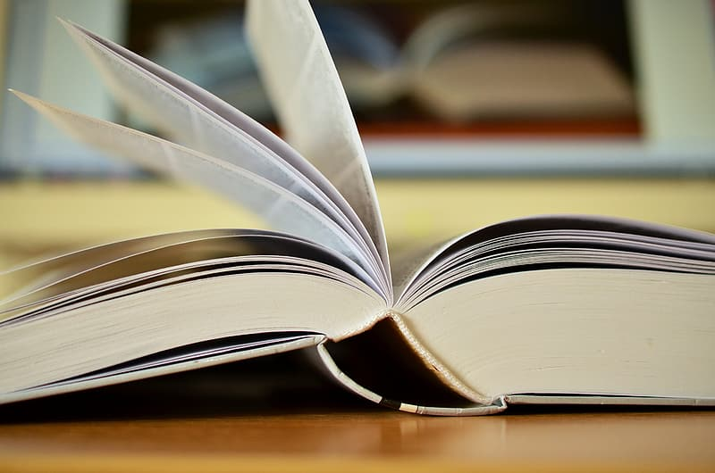 Opened book on brown wooden surface