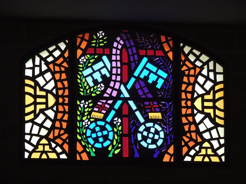 Purple, brown, and white stained glass decor
