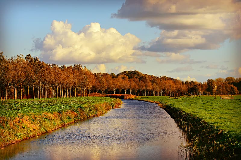 River between green grass field under white clouds and blue sky during daytime