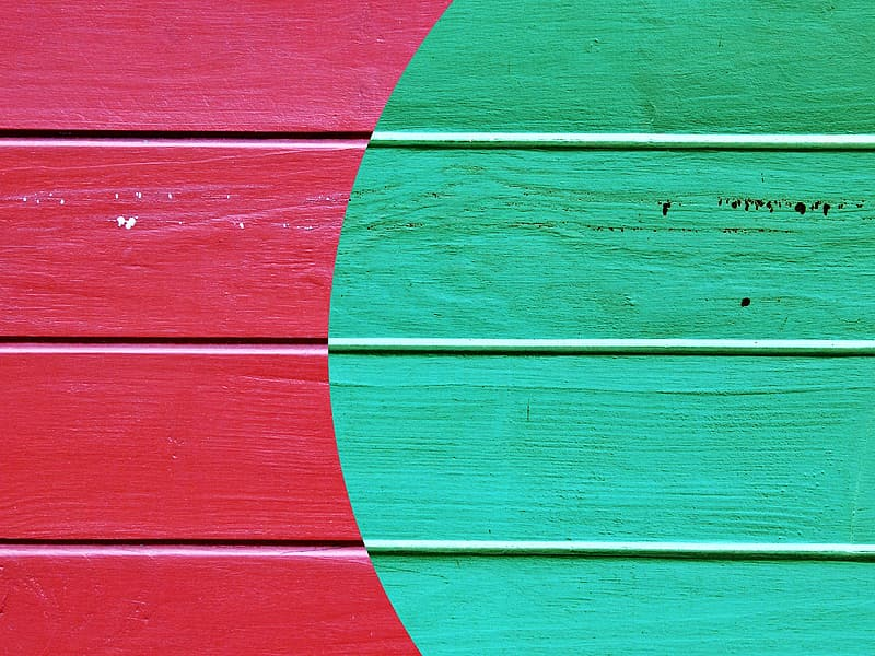 Red and white wooden wall