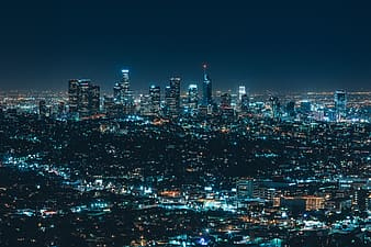 Panoramic photo of lighted city buildings