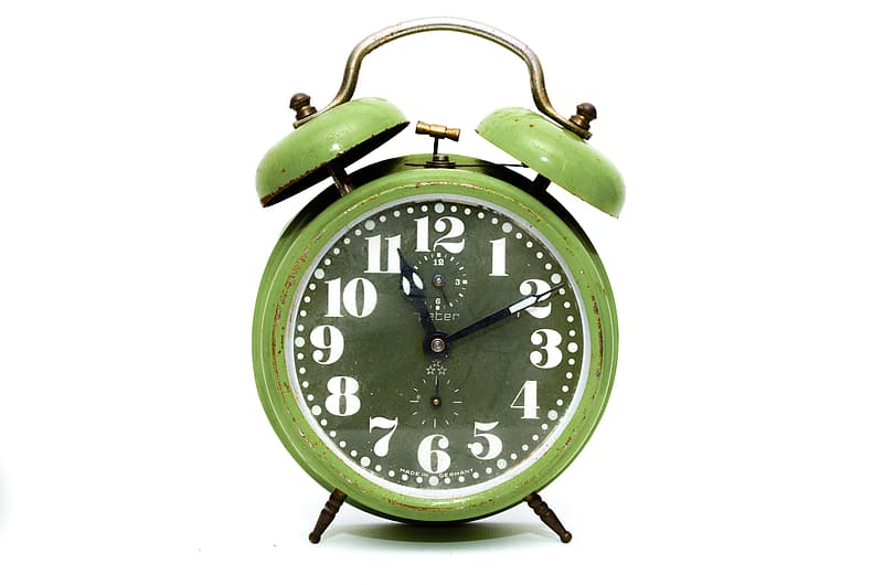 Green and black twin bell alarm clock