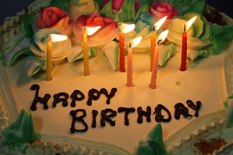 Happy birthday cake with lighted candles