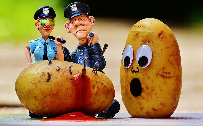 Male and female police plastic figures and two potatoes