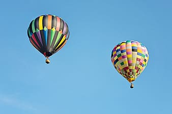 Green yellow and blue hot air balloons