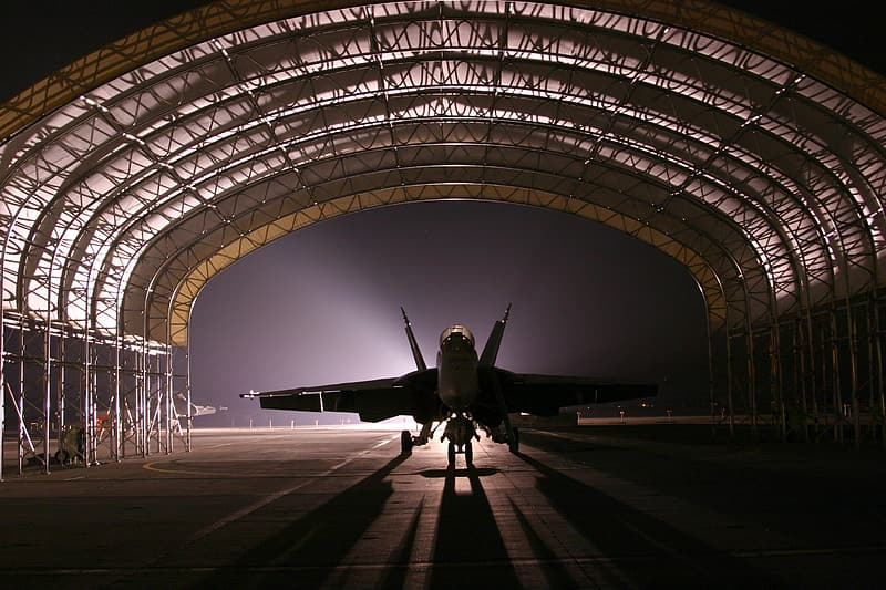 Silhouette of jet during night time
