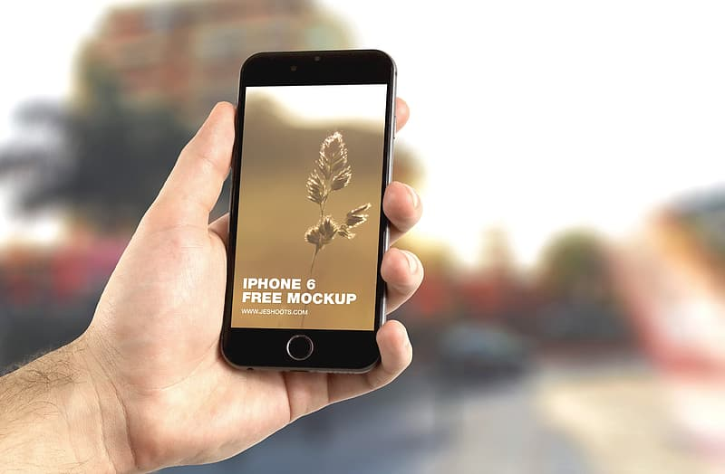 Person holding iPhone with iPhone 6 free mockup display