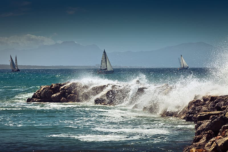 Sailboat on sea during daytime