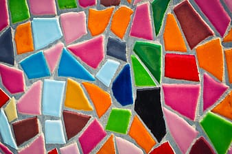 Pink and multicolored tile graphics art