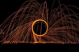Time lapse photograph of metal spark