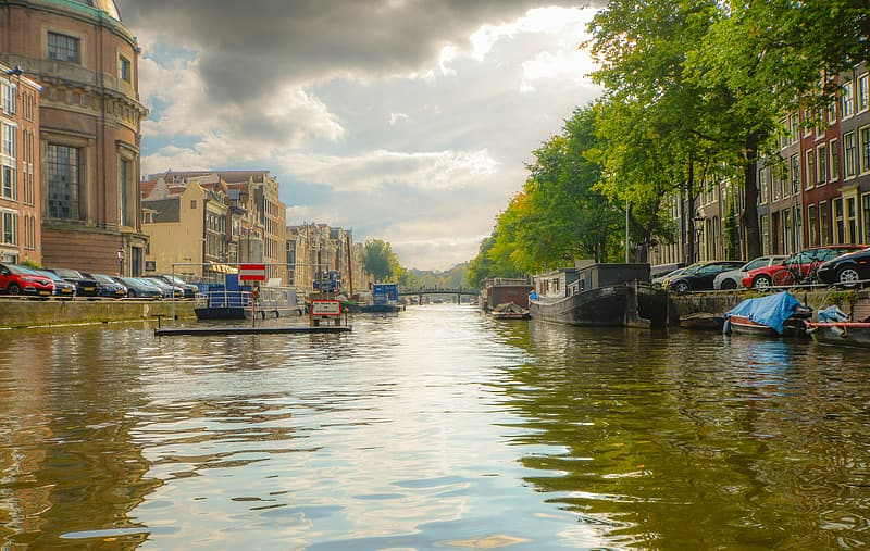 Canal between houses and cars during daytime