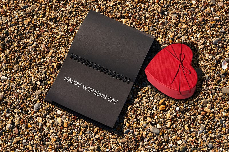 Black and red book on brown and black stones