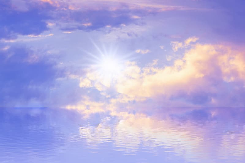 White bright light with calm body of water