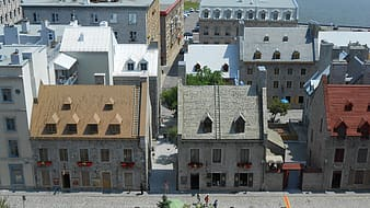 Aerial view of gray painted buildings