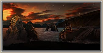 Brown rock formation painting