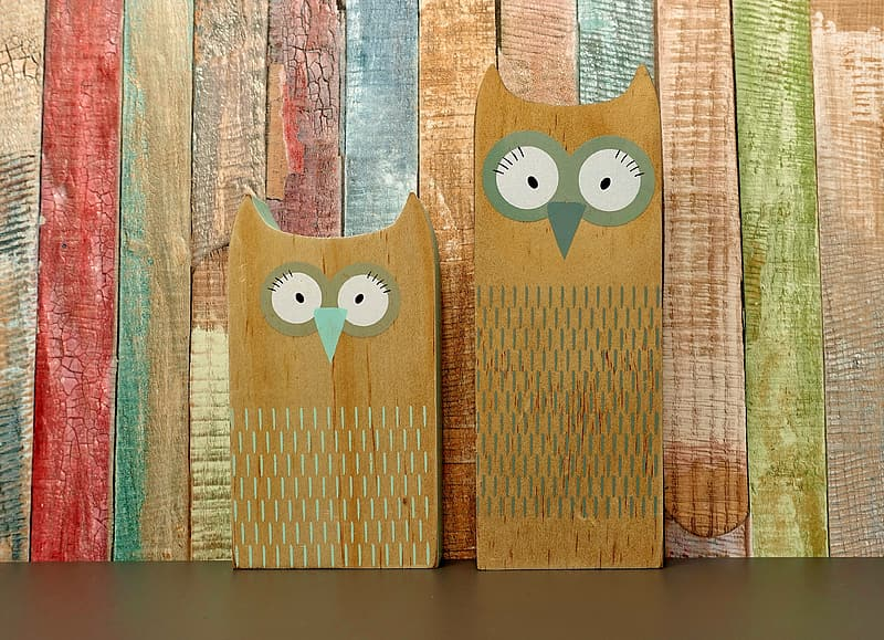 Brown and green owl painting