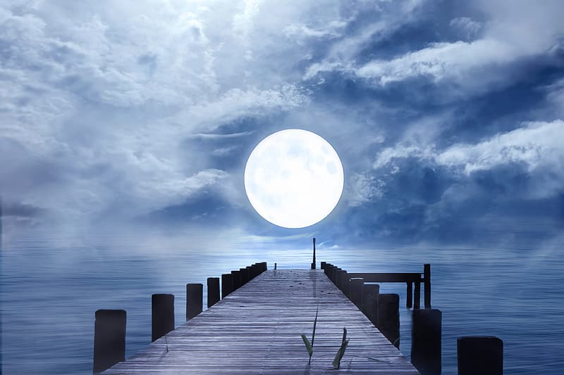 Sea dock facing the ocean and full moon