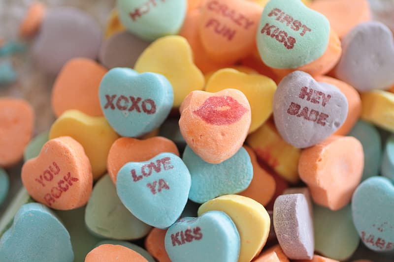 Bunch of heart-shaped candies