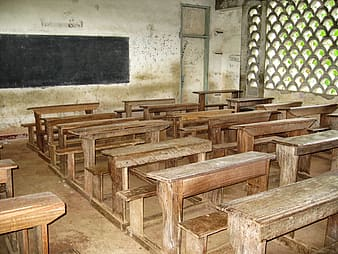 Brown and white classroom interior