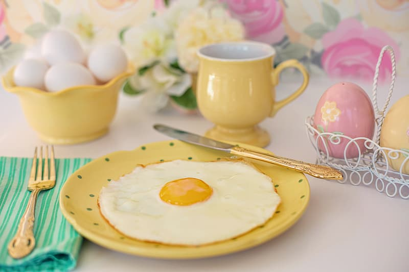 Yellow ceramic mug near round yellow plate with fried egg on top