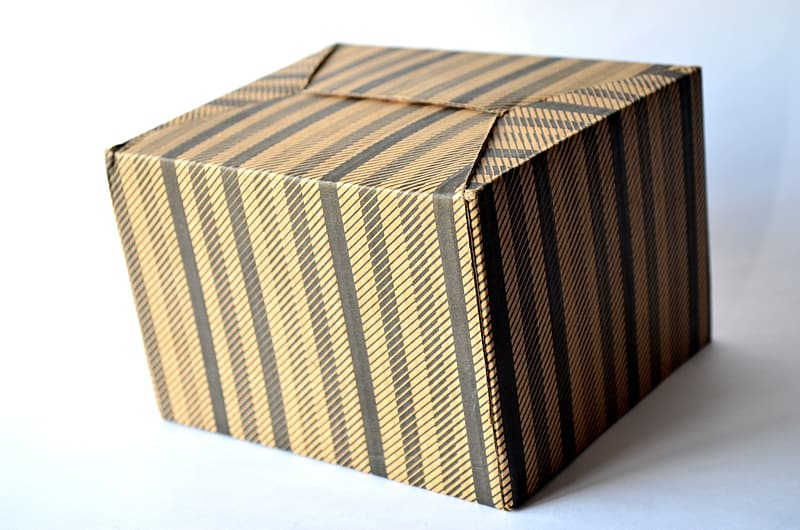 Brown and black striped box