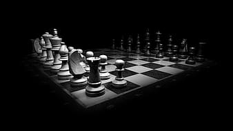 Grayscale photo of chessboard