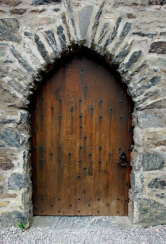Brown wooden closed door