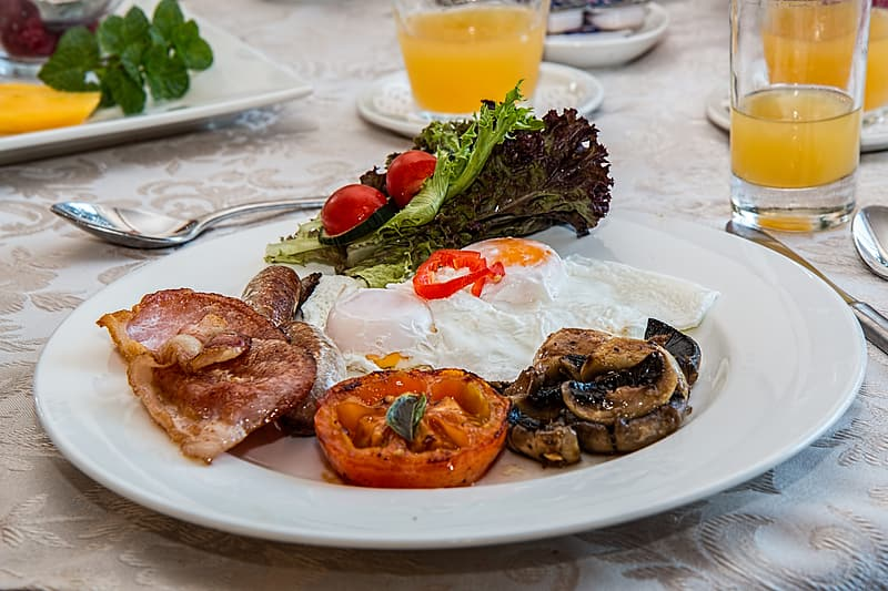Meat, egg and vegetable on plate