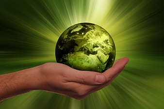 Person holding Earth illustration