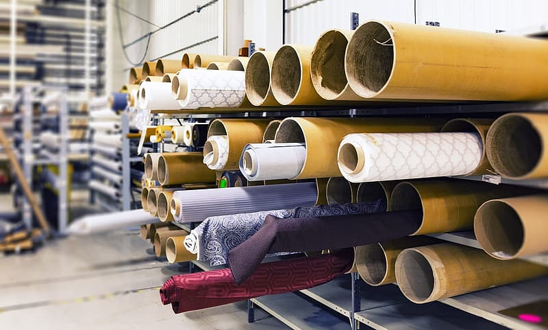 Assorted rolled textiles