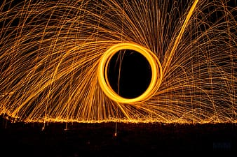 Time lapse photography of fire dancing