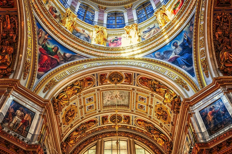 White blue and red floral ceiling