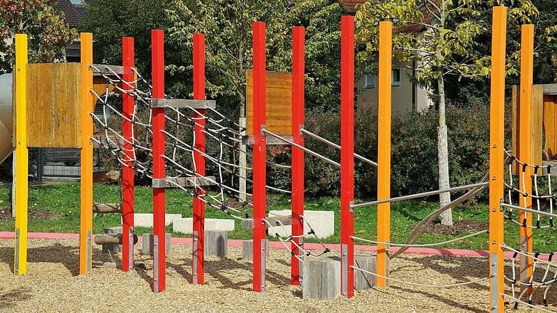 Photo of red and brown playground