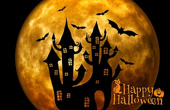 Silhouette of haunted house and bats with Happy Halloween text overlay